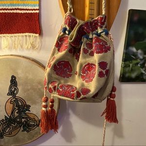 Leather embroidered Free People boho bag